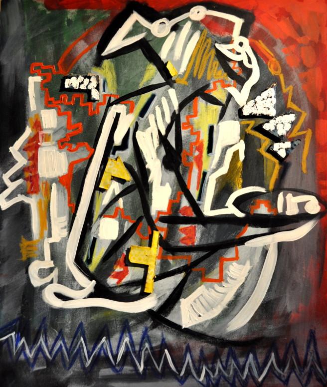 La trampa Óleo y collage sobre tabla 80x90cm