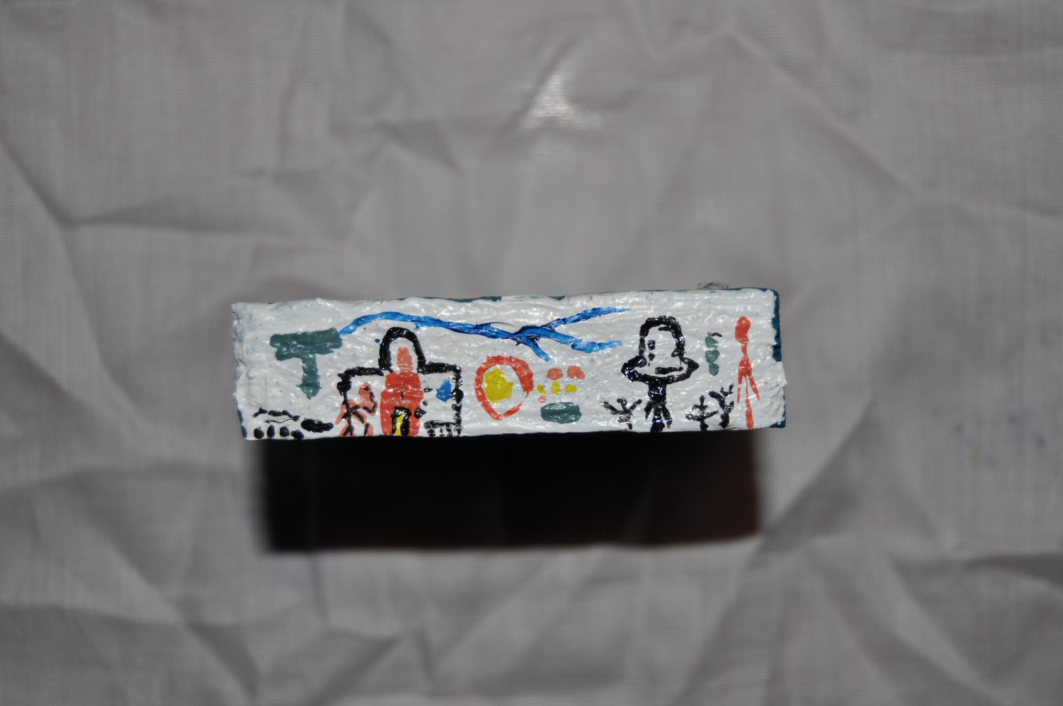 2pintura Acrílico sobre madera.  8x1,5 cm