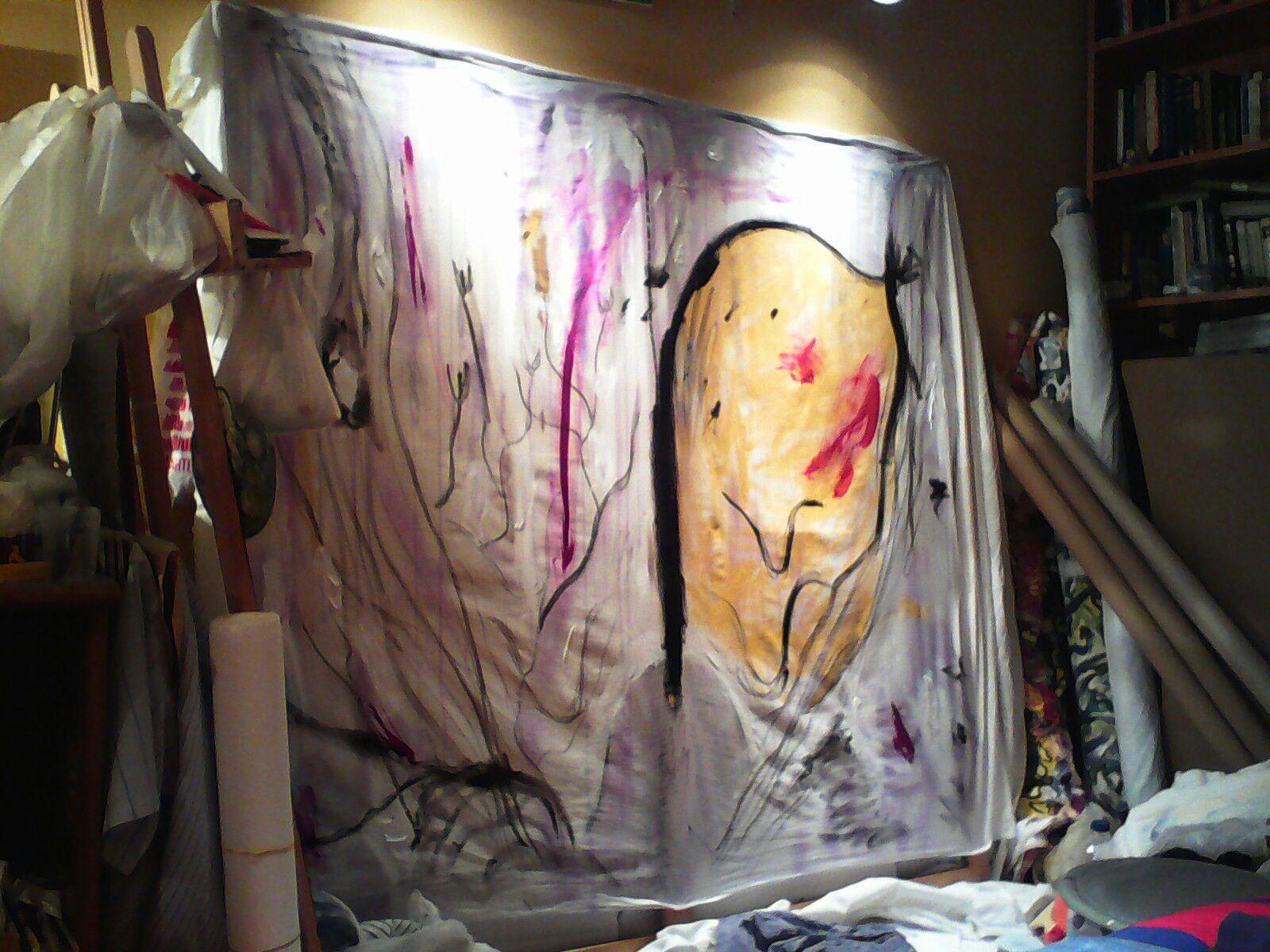 Raptus. Col lombarda y pigmentos sobre tela, 170x190cm.